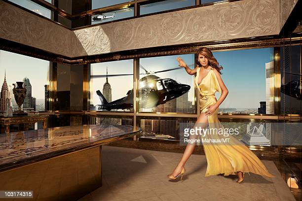 Melania Trump poses for a portrait on April 14 2010 in New York City Melania Trump is wearing a dress by Roberto Cavalli shoes by Manolo Blahnik...