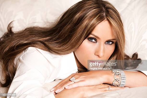 Melania Trump poses for a portrait on April 14 2010 in New York City Melania Trump is wearing a shirt by Dolce Gabbana ChampsElysees watch in silver...