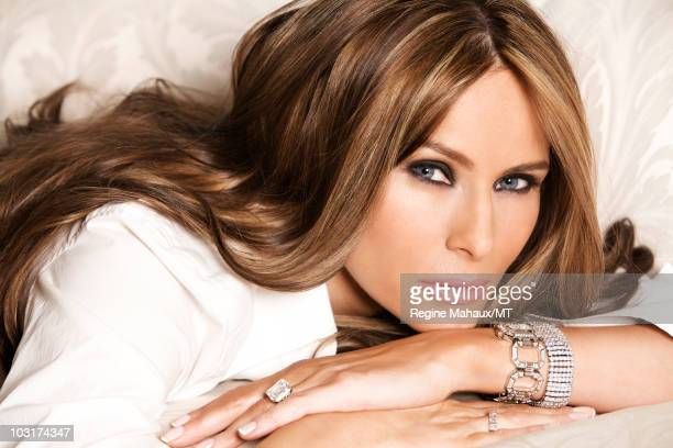Melania Trump poses for a portrait on April 14, 2010 in New York City. Melania Trump is wearing a shirt by Dolce & Gabbana, Champs-Elysees watch in...