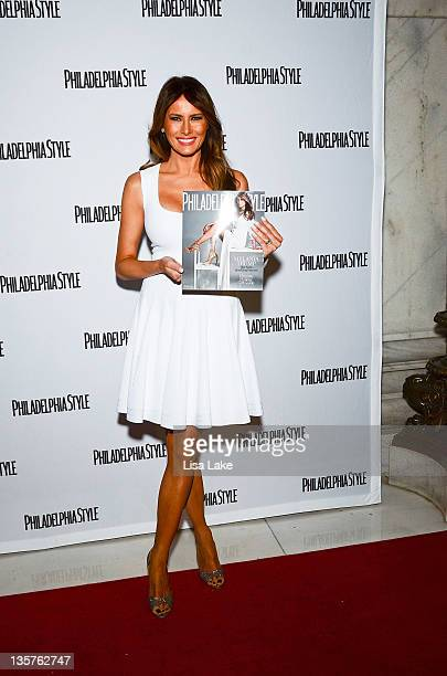 Melania Trump poses with magazine at Philadelphia Style Magazine cover event hosted by Melania Trump at Ritz Carlton Hotel on December 13 2011 in...