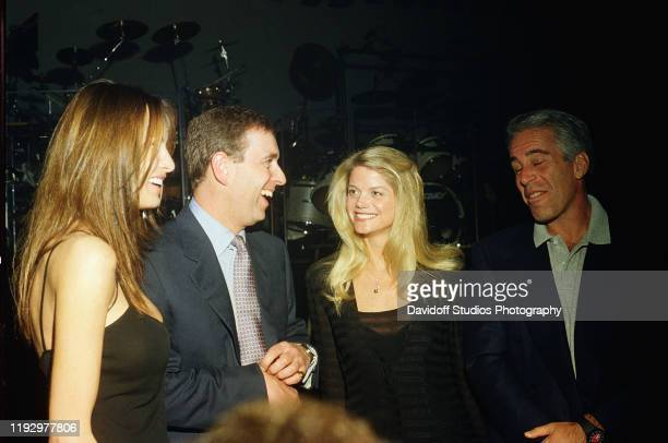 Melania Trump Prince Andrew Gwendolyn Beck and Jeffrey Epstein at a party at the MaraLago club Palm Beach Florida February 12 2000