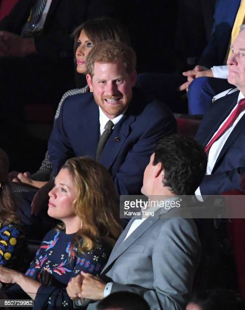 Melania Trump Prince Harry Sophie Gregoire Trudeau and Justin Trudeau attend the Opening Ceremony of the Invictus Games Toronto 2017 at the Air...