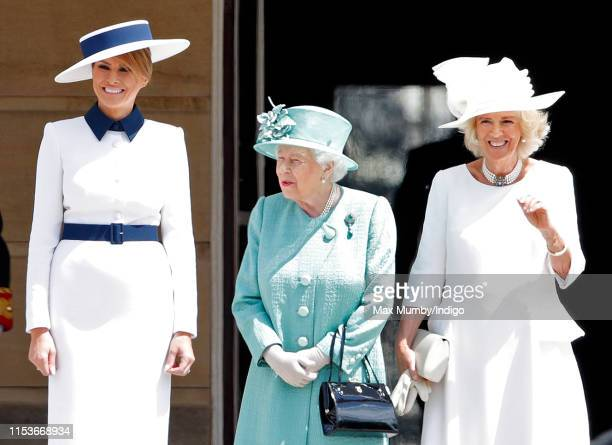 Melania Trump, Queen Elizabeth II and Camilla, Duchess of Cornwall attend the Ceremonial Welcome in the Buckingham Palace Garden for President Trump...