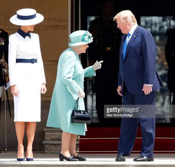 Melania Trump, Queen Elizabeth II and U.S. President Donald Trump attend the Ceremonial Welcome in the Buckingham Palace Garden for President Trump...