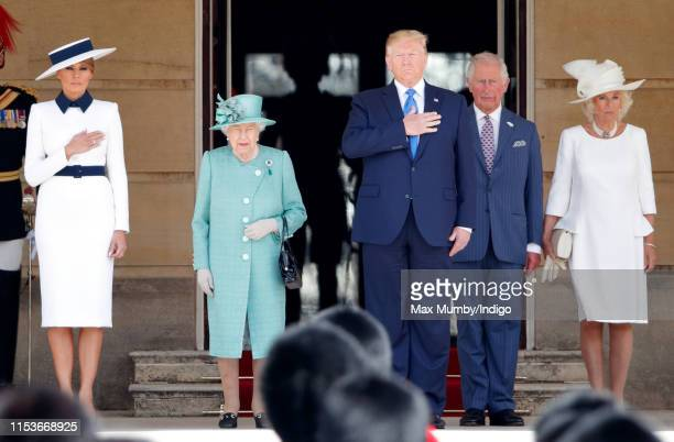 Melania Trump Queen Elizabeth II US President Donald Trump Prince Charles Prince of Wales and Camilla Duchess of Cornwall attend the Ceremonial...