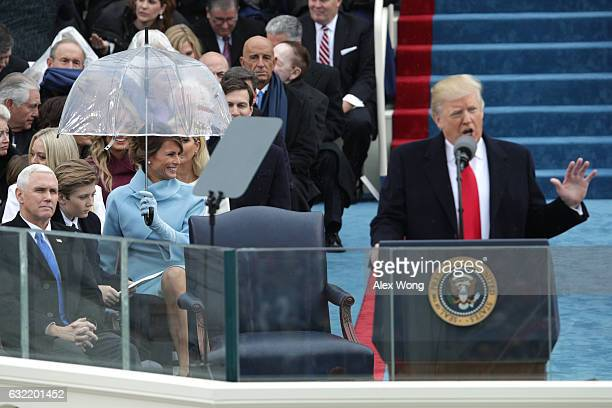 Melania Trump smiles as her husband President Donald Trump delivers his inaugural address on the West Front of the US Capitol on January 20 2017 in...
