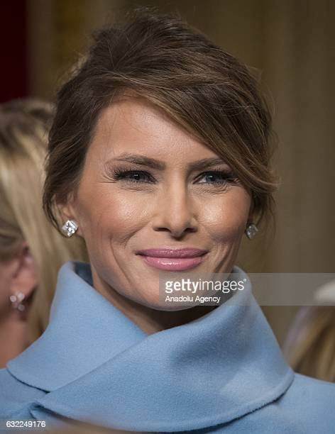 Melania Trump the wife of President Donald Trump leaves the Presidents Room of the Senate at the Capitol in Washington USA on January 20 2017