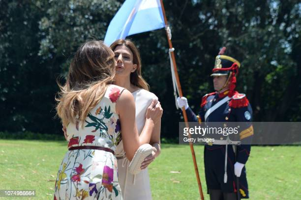 Melania Trump US President Donal Trump's wife greets Juliana Awada President of Argentina Mauricio Macri's wife during a visit to Villa Ocampo as...
