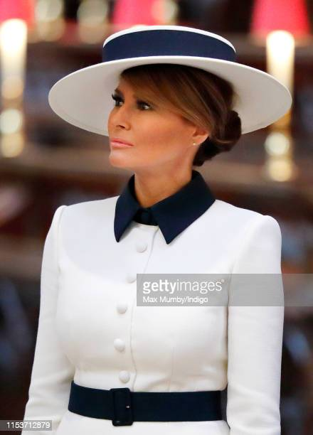 Melania Trump visits Westminster Abbey where U.S. President Donald Trump laid a wreath at the grave of the Unknown Warrior on day 1 of his State...
