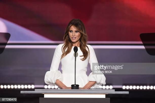 TOPSHOT Melania Trump wife of presumptive Republican presidential candidate Donald Trump addresses delegates on the first day of the Republican...