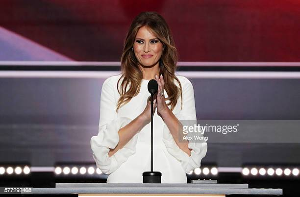 Melania Trump, wife of Presumptive Republican presidential nominee Donald Trump, delivers a speech on the first day of the Republican National...