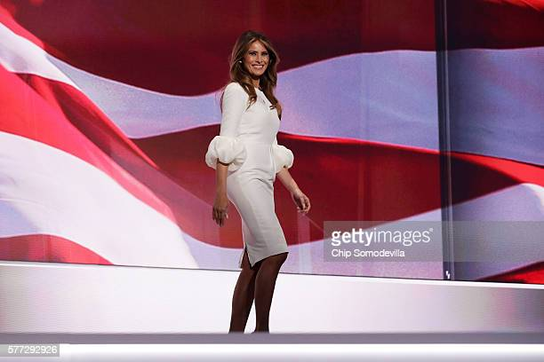 Melania Trump wife of Presumptive Republican presidential nominee Donald Trump walks on stage to deliver a speech on the first day of the Republican...