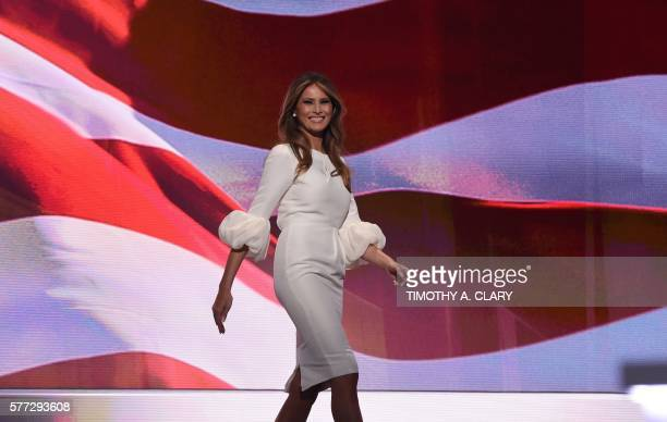 Melania Trump wife of Republican presidential candidate Donald Trump arrives on stage on the first day of the Republican National Convention on July...