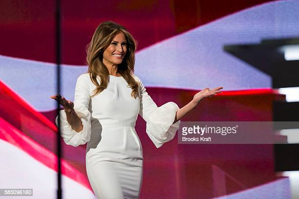 Melania Trump, wife of Republican presidential nominee Donald Trump, arrives to speak on the first day of the Republican National Convention on July...