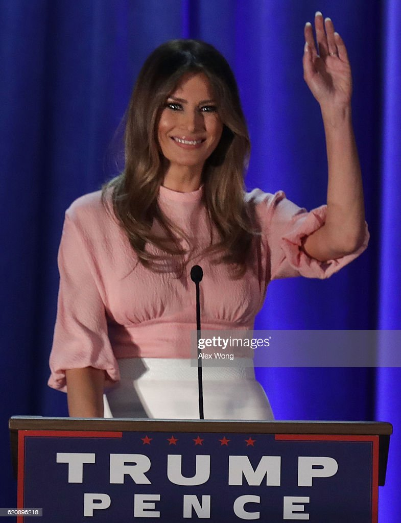 Melania Trump, wife of Republican presidential nominee Donald Trump, waves to supporters during a campaign event November 3, 2016 in Berwyn, Pennsylvania. Melania Trump campaigned for her husband, five days before the nation pick her next president.