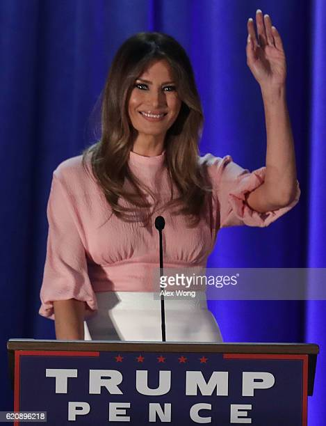 Melania Trump wife of Republican presidential nominee Donald Trump waves to supporters during a campaign event November 3 2016 in Berwyn Pennsylvania...