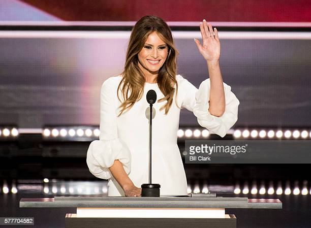Melania Trump wife of Republican presumptive nominee Donald Trump speaks during the 2016 Republican National Convention in Cleveland Ohio on Monday...