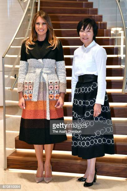 Melania Trump wife of US President Donald Trump and Akie Abe wife of Japanese Prime Minister Shinzo Abe visit Mikimoto Pearl on November 5 2017 in...