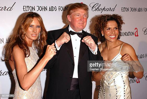 Melania Trump with husband Donald Trump and actress Lucia Rijker arrives at the 13th Annual Elton John Aids Foundation Academy Awards Viewing Party...