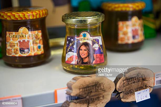 Melania Trumpthemed Sevnica honey is pictured on display at a tourist information centre and shop on November 29 2016 in Sevnica Slovenia Born in...