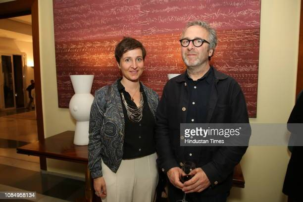 Melanie Adiceam and Marc Domage at the launch of Over and Under Ground in Mumbai Paris an Indofrench illustrated book of poetry published by Westland...