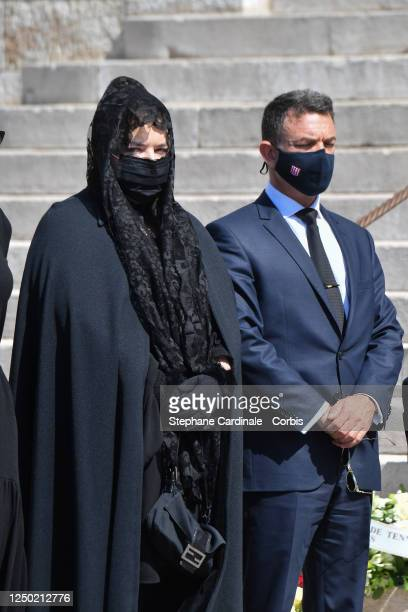 Melanie Antoinette de Massy and JeanLeonard Taubert de Massy arrive at the Monaco Cathedral for ElizabethAnn De Massy's Funerals on June 17 2020 in...