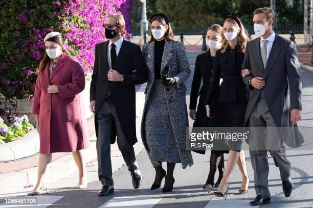 Melanie Antoinette de Massy, Andrea Casiraghi, Tatiana Santo Domingo , Alexandra of Hanover, Beatrice Borromeo and Pierre Casiraghi arrive at the...