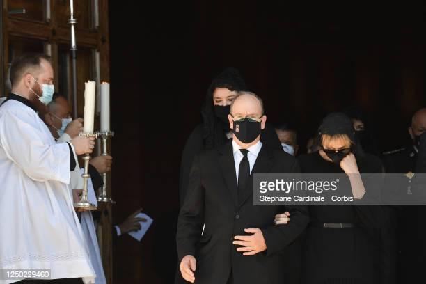 Melanie Antoinette de Massy Prince Albert II of Monaco and Princess Charlene of Monaco leave the Monaco Cathedral after ElizabethAnn De Massy's...