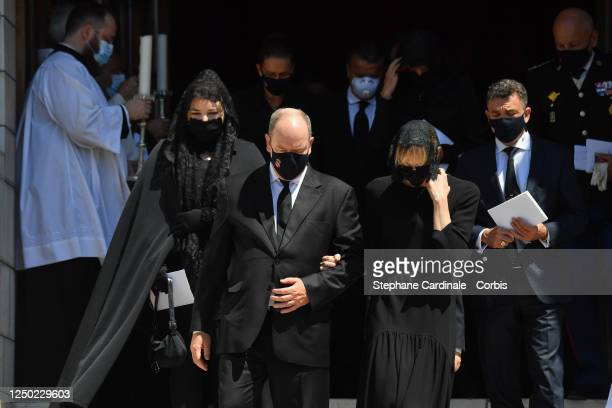 Melanie Antoinette de Massy Princess Stephanie of Monaco Prince Albert II of Monaco and Princess Charlene of Monaco leave the Monaco Cathedral after...