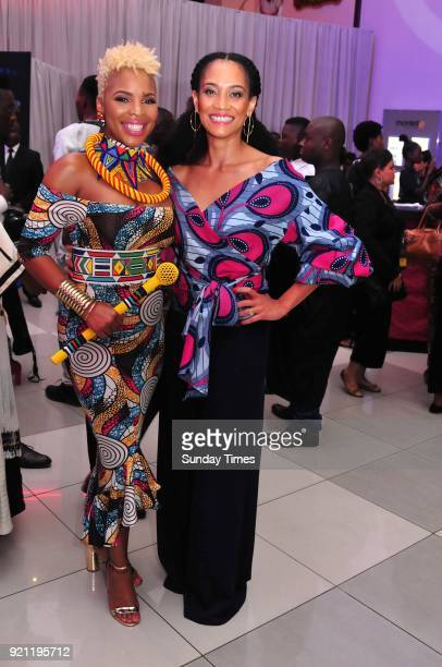 Melanie Bala and Masechaba Ndlovu during the Black Panther movie premiere at Montecasino on February 16 2018 in Fourways South Africa Your culture in...