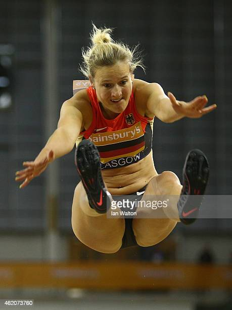 Melanie Bauschke of Germany in action in the women's Long Jump during the Sainsbury's Glasgow International Match at Emirates Arena on January 24...
