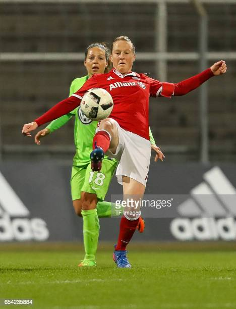 Melanie Behringer of Bayern Muenchen controls the ball during the Women's DFB Cup Quarter Final match between FC Bayern Muenchen and VfL Wolfsburg at...