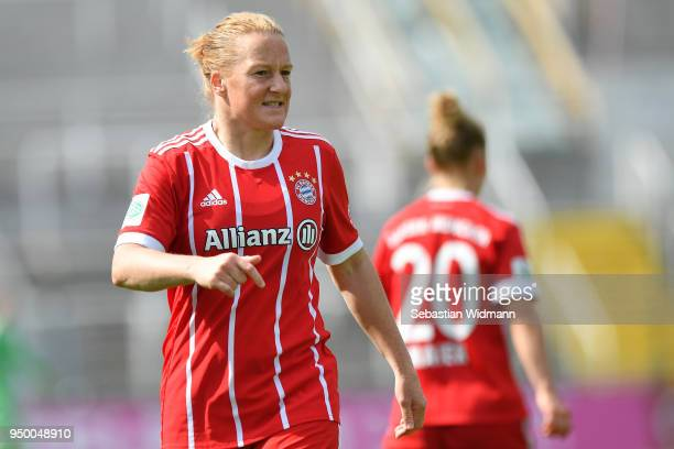 Melanie Behringer of Bayern Muenchen looks on during the Allianz Frauen Bundesliga match between FC Bayern Muenchen Women's and USV Jena Women's at...