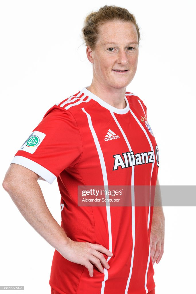 Melanie Behringer of Bayern Muenchen poses during the Allianz Frauen Bundesliga Club Tour at FC Bayern Muenchen Campus on August 20, 2017 in Munich, Germany.