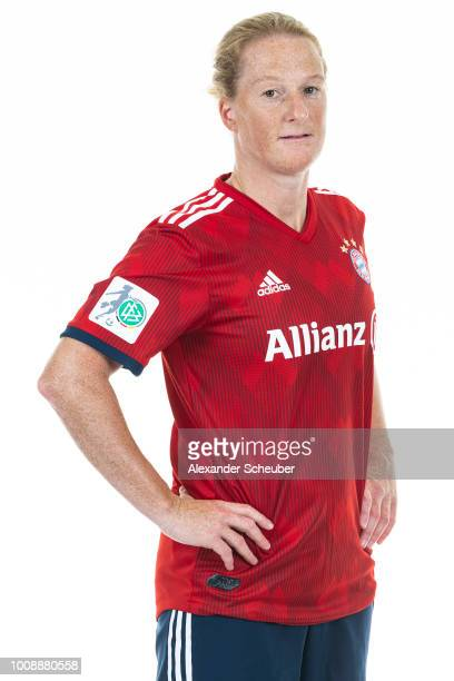 Melanie Behringer of Bayern Muenchen poses during the FC Bayern Muenchen Women's team presentation at FC Bayern Muenchen Campus on July 30 2018 in...