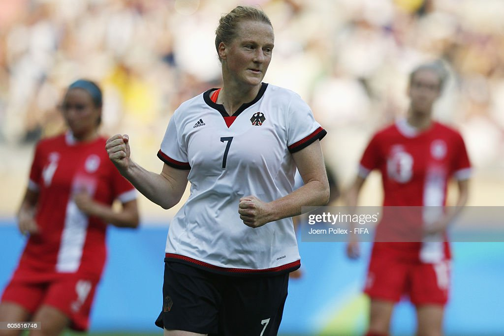 Melanie Behringer of Germany celebrates after scoring her team's first goal the Women's Semi Final match between Canada and Germany on Day 11 of the Rio2016 Olympic Games at Mineirao Stadium on August 16, 2016 in Belo Horizonte, Brazil.