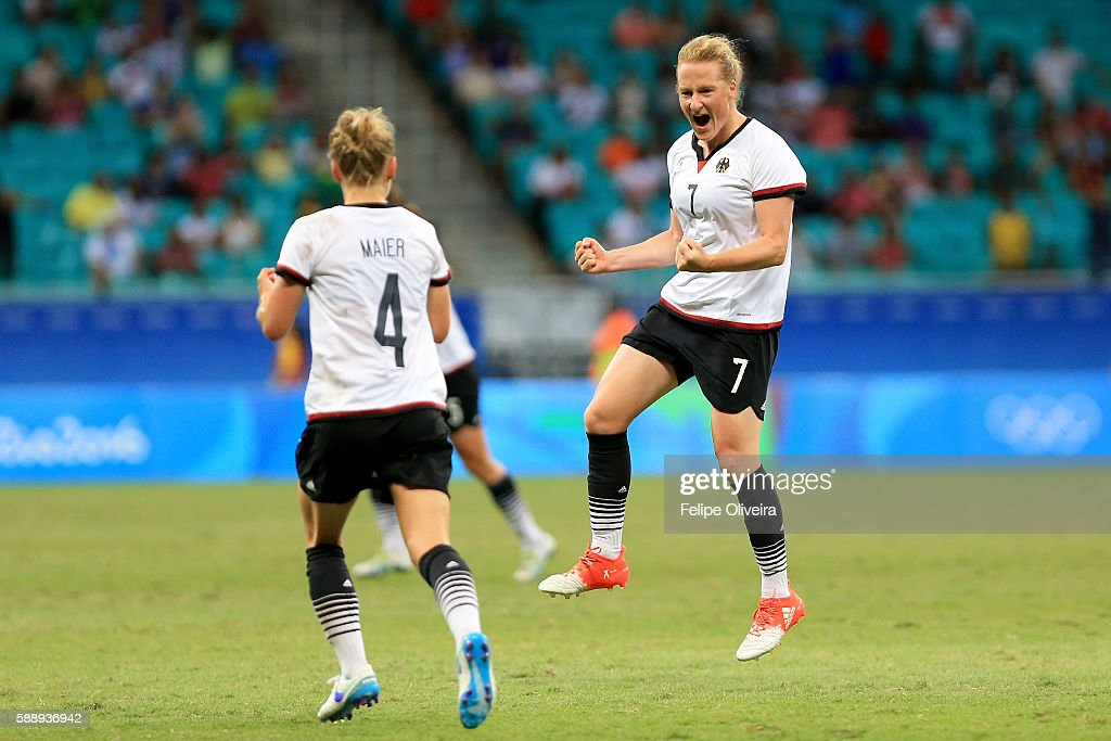 Melanie Behringer of Germany celebrates after scoring the opening goal during the Women's Football Quarterfinal match between China and Germany on Day 7 of the Rio 2016 Olympic Games at Arena Fonte Nova on August 12, 2016 in Salvador, Brazil.