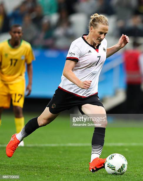 Melanie Behringer of Germany in action during the match between Zimbabwe and Germany for summer olympics at Arena Corinthians on August 3 2016 in Sao...