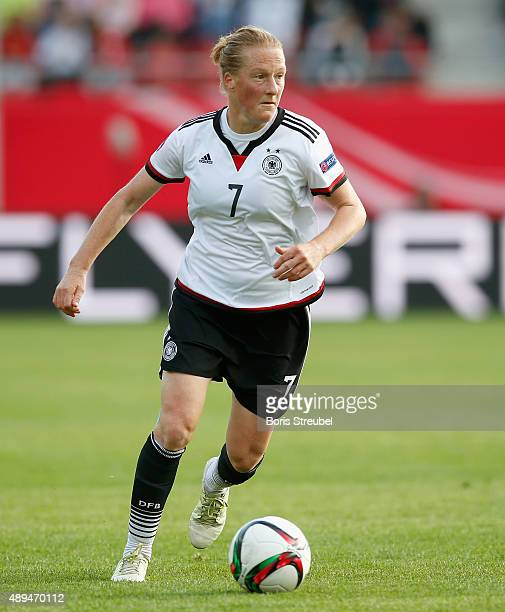 Melanie Behringer of Germany runs with the ball during the UEFA Women's Euro 2017 Qualifier between Germany and Hungary at Erdgas Sportpark on...