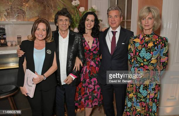 Melanie Bennett, Ronnie Wood, Sally Wood, Hugo de Ferranti and Nicola Formby attend a dinner hosted by Skye Gyngell and the Trustees of Action on...