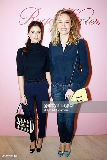 Melanie Bernier and Lilou Fogli attend the Roger Vivier Prismick Denim Party at Rue Du Faubourg SaintHonoré on March 7 2016 in Paris France