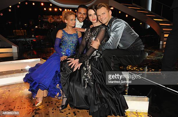 Melanie Binder Danilo Campisi Roxanne Rapp and Vadim Garbuzov pose for a photograph during the 'Dancing Stars' TV Show after party at ORF Zentrum on...