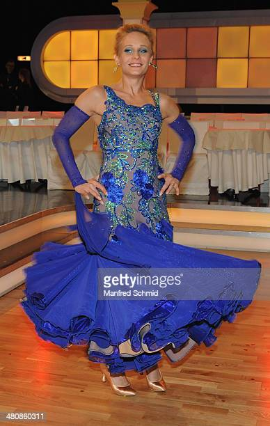 Melanie Binder poses for a photograph during the 'Dancing Stars' TV Show after party at ORF Zentrum on March 21 2014 in Vienna Austria