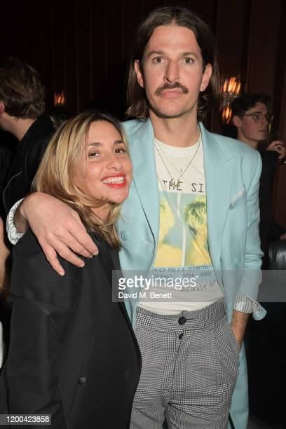 Melanie Blatt and Glyn Fussell attend the NME Awards after party in association with Copper Dog at The Standard on February 12 2020 in London England