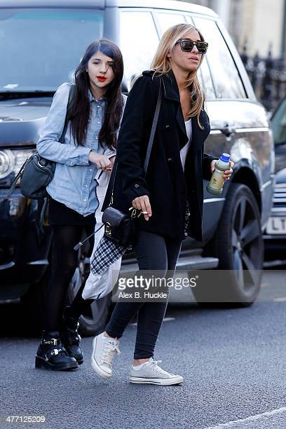 Melanie Blatt and her daughter Lilyella Zender sighted in Hampsted on March 7 2014 in London England