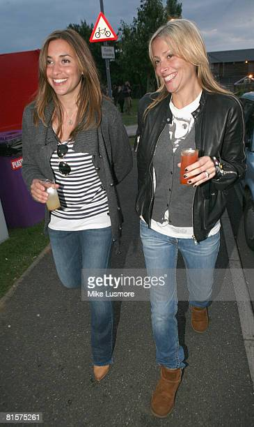 Melanie Blatt and Nicole Appleton from the All Saints relax with a drink backstage at the Isle of Wight Festival on June 14 2008 in the Isle of Wight...
