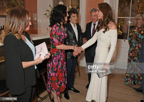 Melanie Blatt Sally Wood Ronnie Wood Hugo de Ferranti Catherine Duchess of Cambridge and Nicola Formby attend a dinner hosted by Skye Gyngell and the...