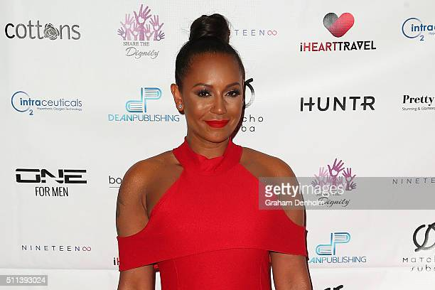 Melanie Brown aka Mel B arrives ahead of the Casino Royale Gala Dinner on February 20, 2016 in Melbourne, Australia.