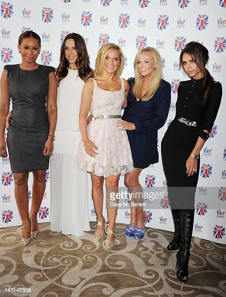 Melanie Brown aka Mel B, Melanie Chisholm aka Mel C, Geri Halliwell, Emma Bunton and Victoria Beckham pose at the press launch of 'Viva Forever', a...