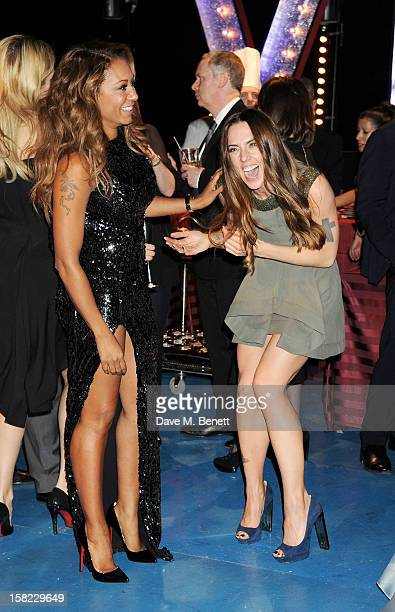 Melanie Brown and Melanie Chisholm attend an after party celebrating the Gala Press Night performance of 'Viva Forever' at Victoria Embankment...